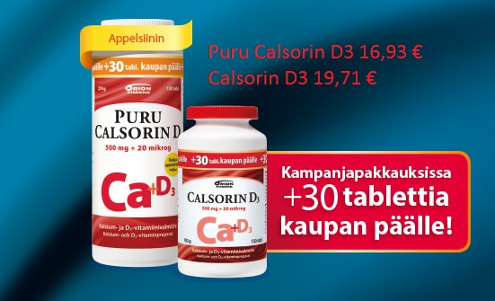 Calsorin kalsium + D3-vitamiini. Kampanjapakkauksissa +30 tablettia kaupan päälle