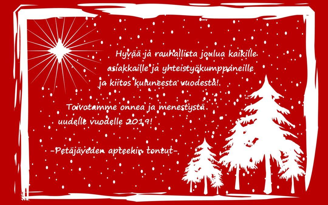 Hyvää joulua ja onnea vuodelle 2019!