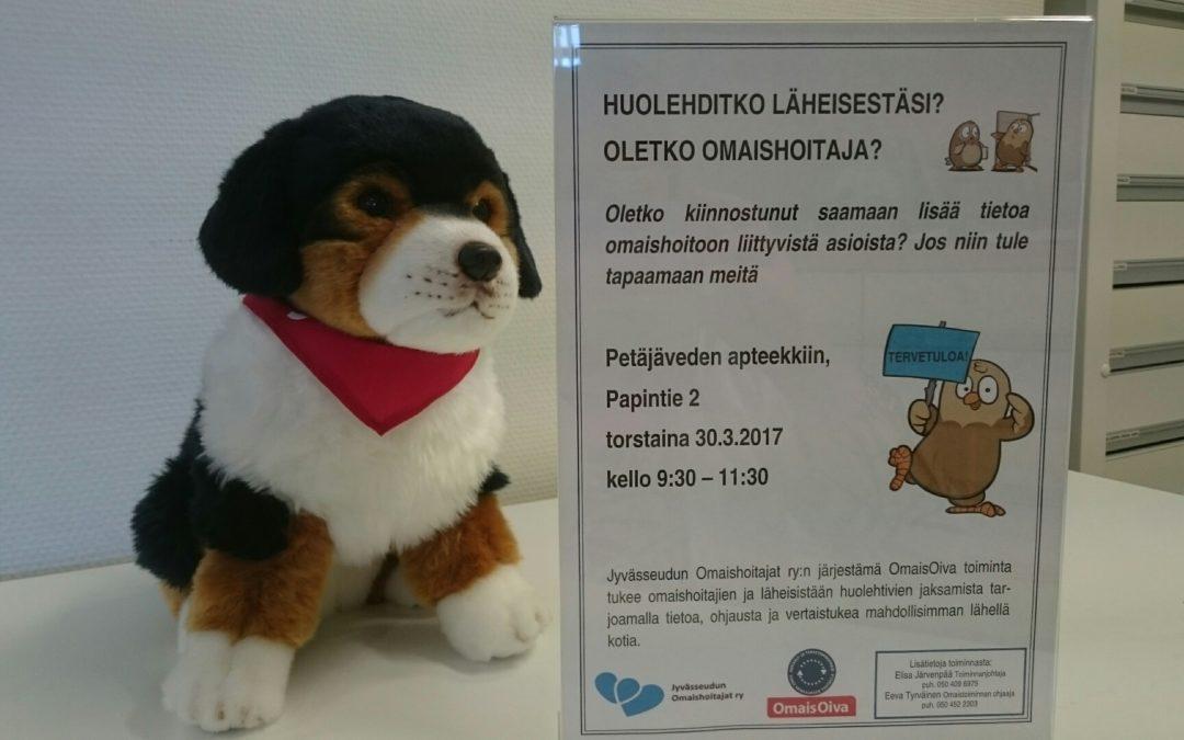 Jyvässeudun Omaishoitajat ry apteekissa torstaina 30.3. klo 9.30 – 11.30