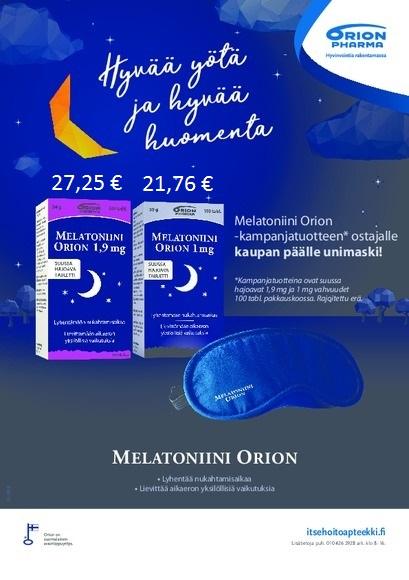 Melatoniini Orion 1 mg tai 1,9 mg 100 tabl. ostajalle unimaski kaupan päälle