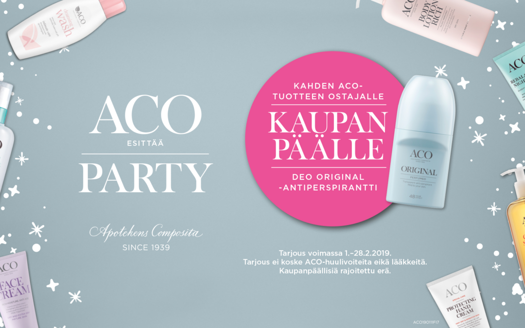 ACO Party – Kahden ACO-tuotteen ostajalle Deo Original -antiperspirantti kaupan päälle